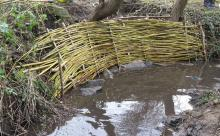 willow woven through hazel poles to stabilise the stream bank