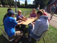 playing cards in the sunshine
