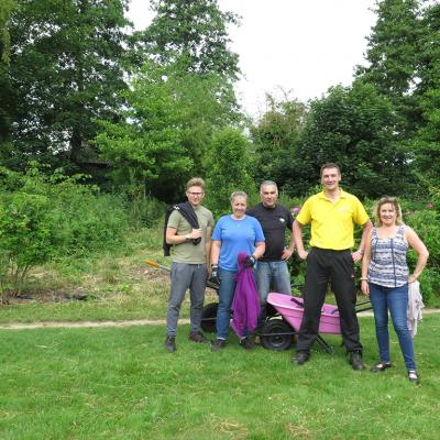 Crane volunteer group in front of Forest Garden