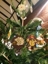 seed mosaic decorations on a Christmas tree